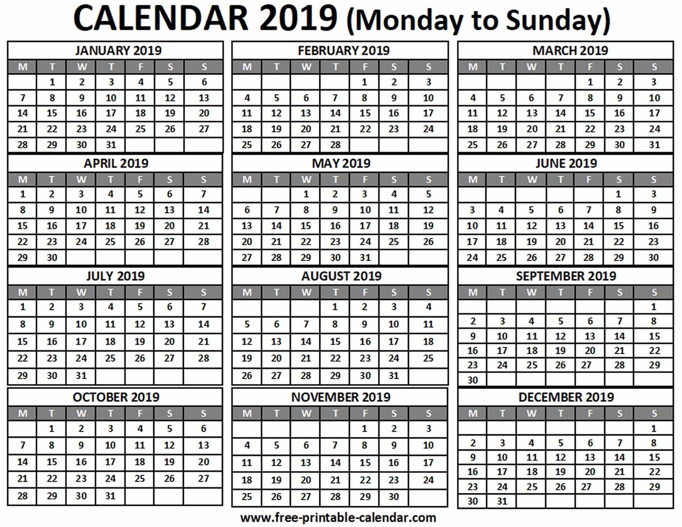 Printable Calendar Monday To Sunday | Ten Free Printable Sunday Through Saturday Template
