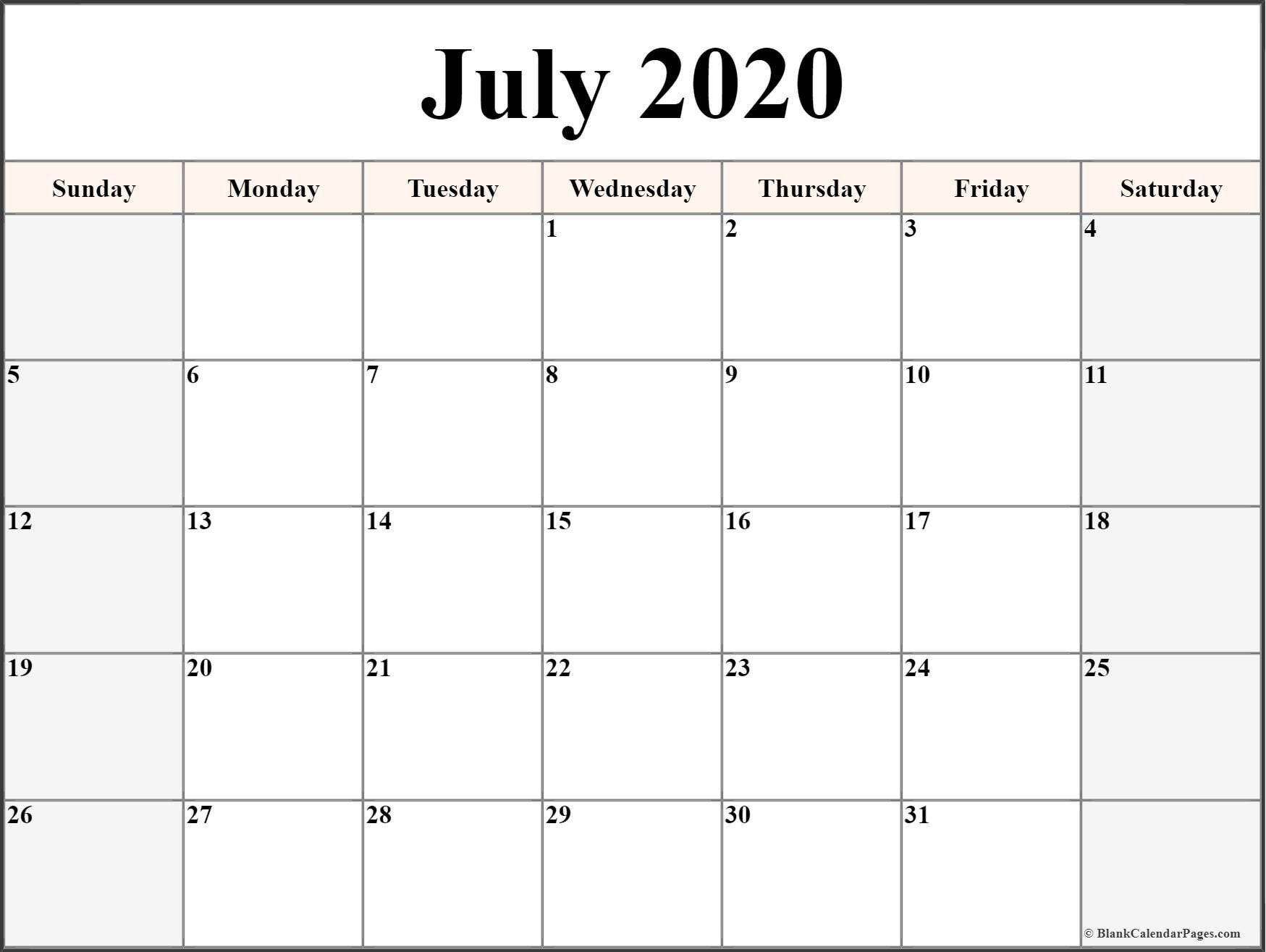Printable Calendar Templates 2020 In 2020 | Printable Calendars To Fill In And Print For Free