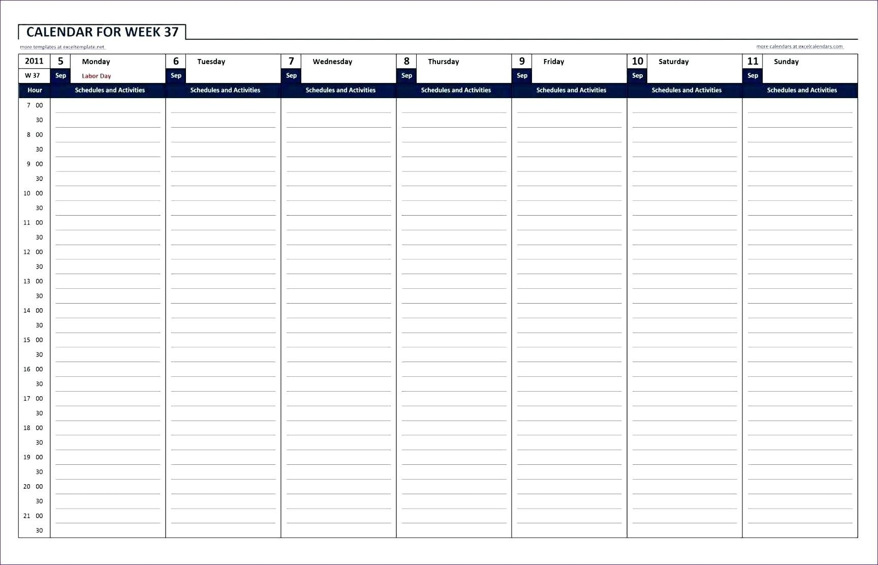 Printable Calendar With Hour Schedule | Example Calendar Printable Calendar By Day And Hour