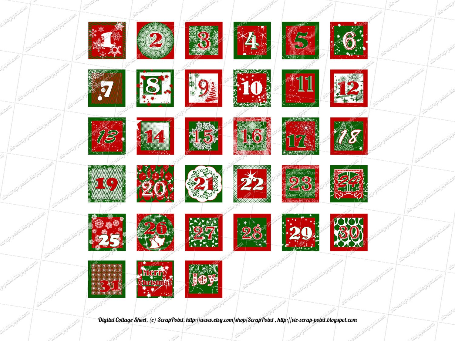 Printable December Daily Numbers 1 1.5 2 & 3 Inch Squares Numbers For Calendars 1-31 Toddlers