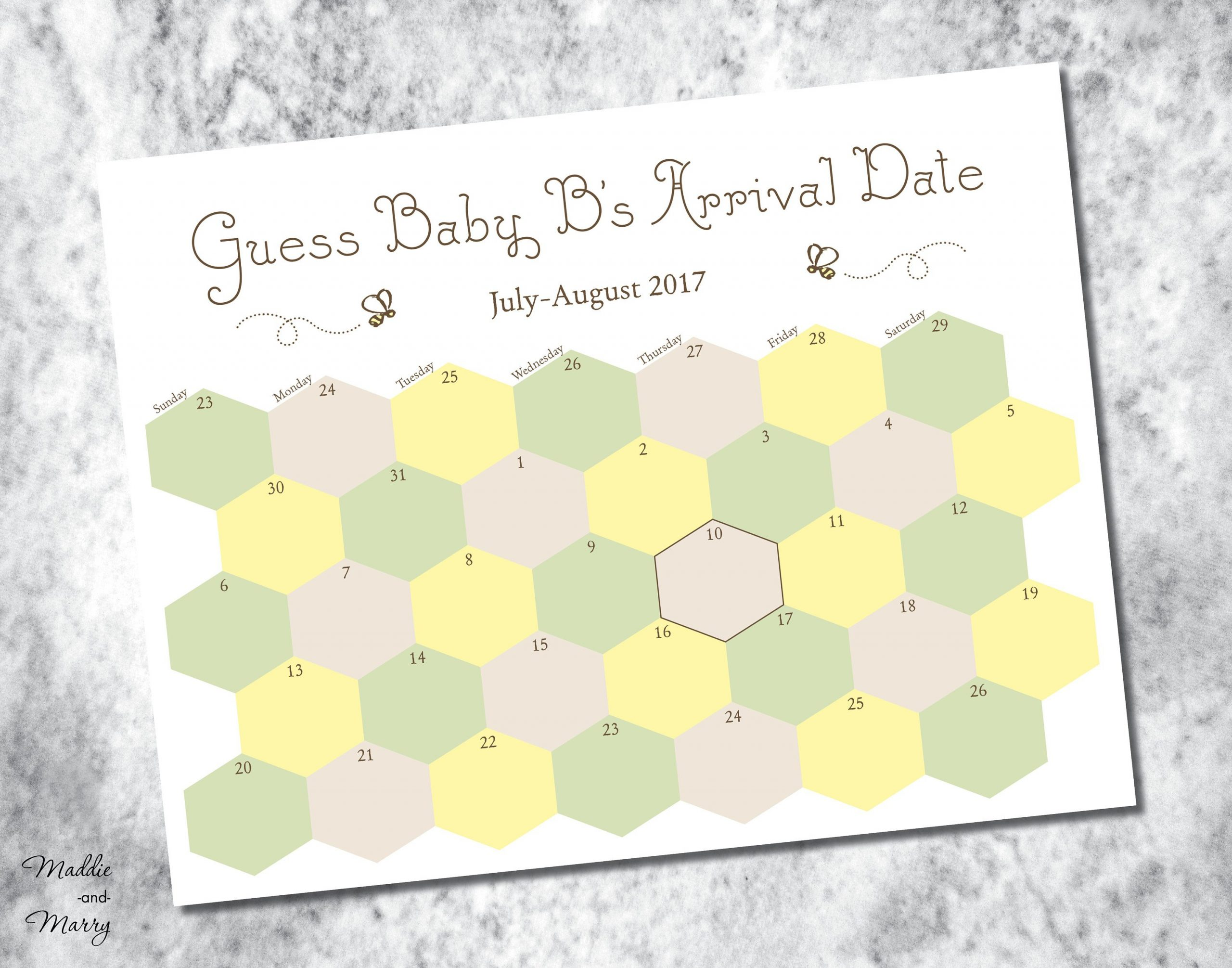 Printable Due Date Guess Baby'S Arrival Calendar | Etsy Printable Due Date Guess