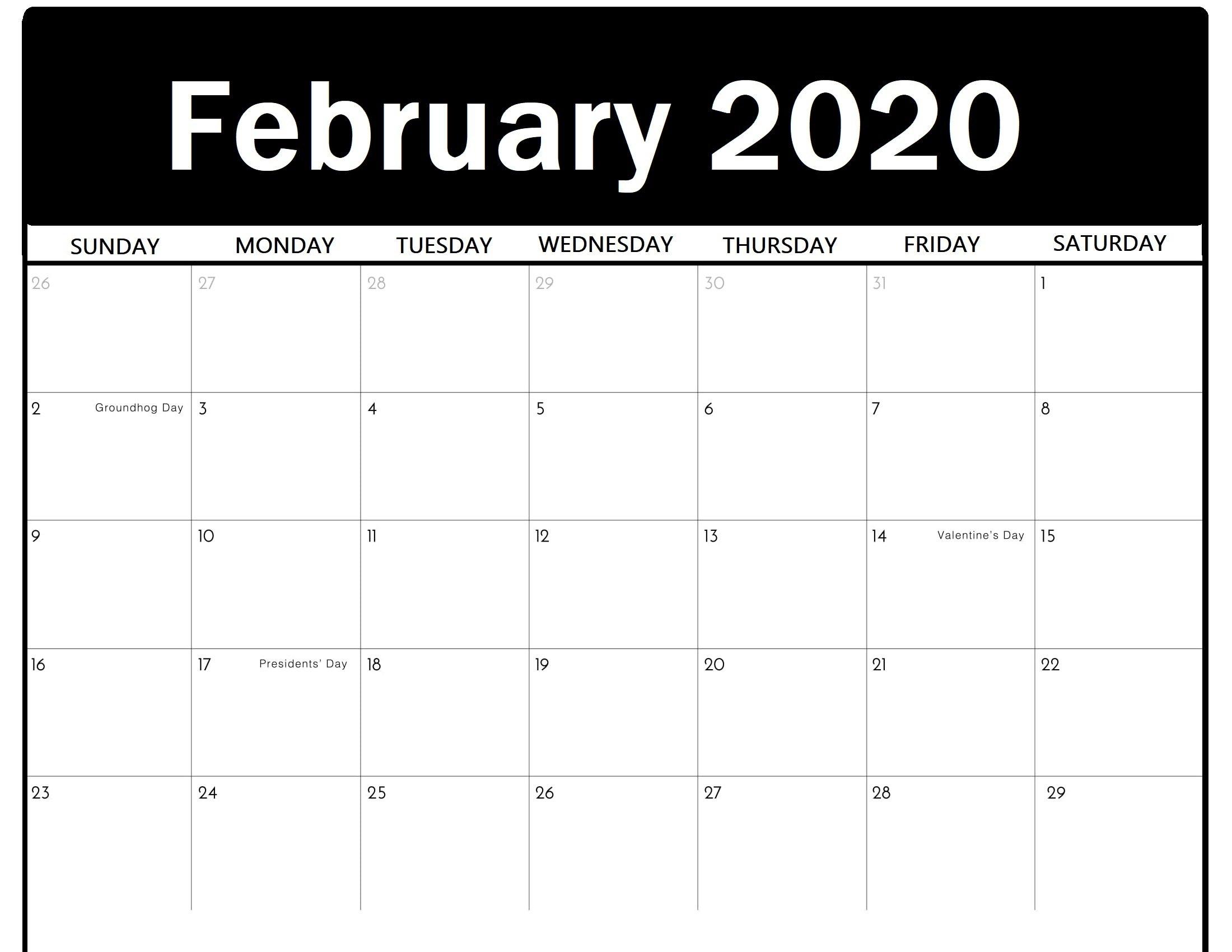 Printable February 2020 Calendar - Calendar-Kart Free 2020 Calendar With Days Counted 1-365