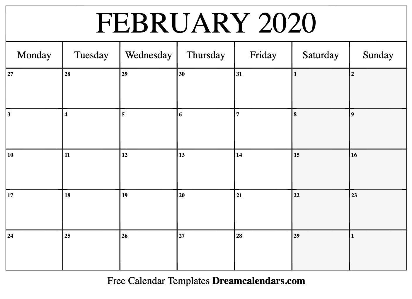 Printable February 2020 Calendar Printable Calendar For The Week Of March 2 Thru March 6