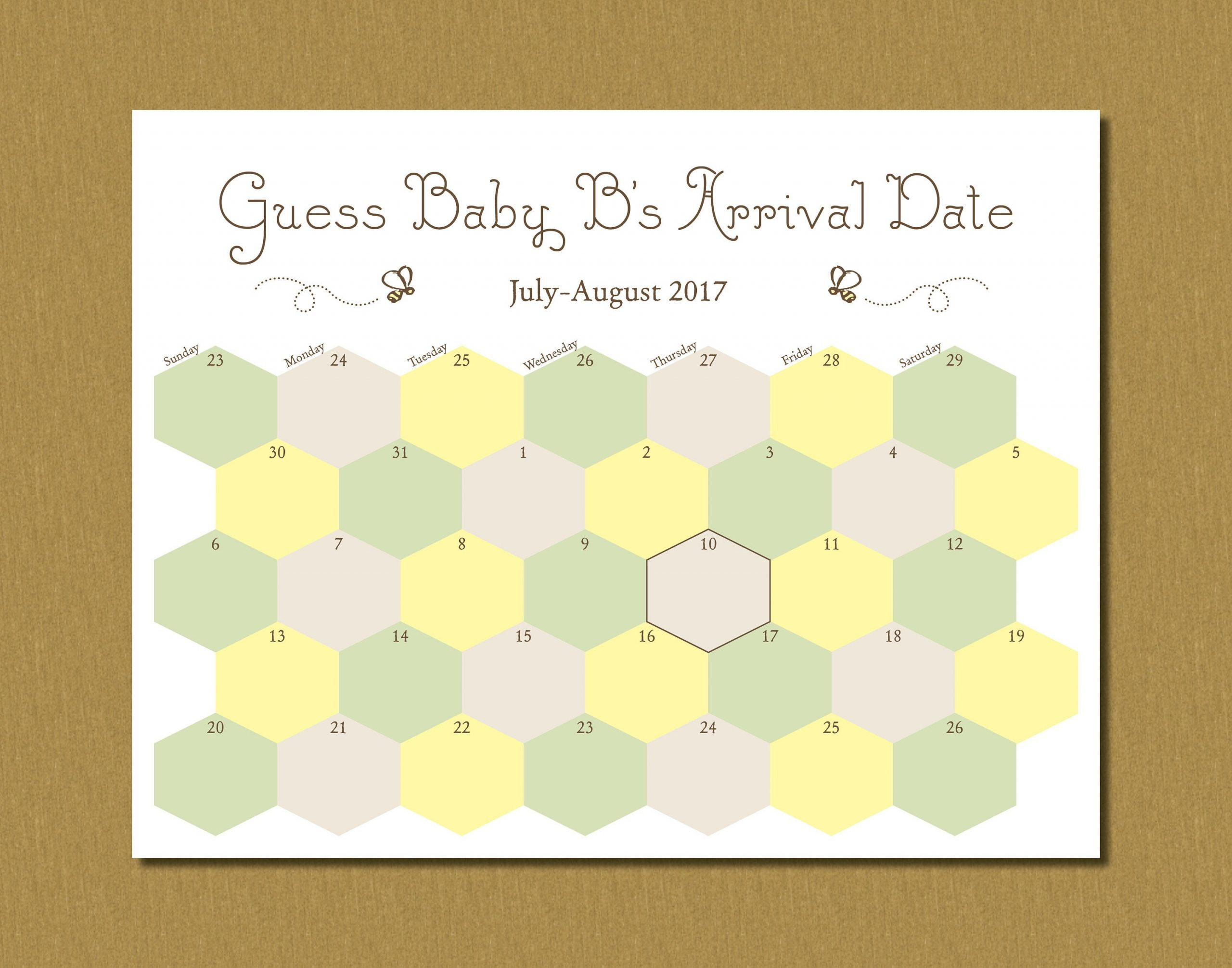 Printable Guess Baby'S Arrival Due Date Calendar Printable Baby Due Date Calendar