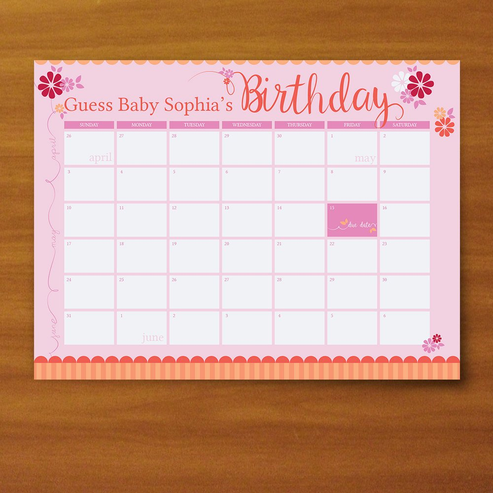 Printable Guess The Due Date Calendar Baby Girl Pink And Due Date Guess Calendar