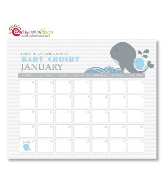 Printable Guess The Due Date Calendar Baby Guess The Baby Due Date Calendar