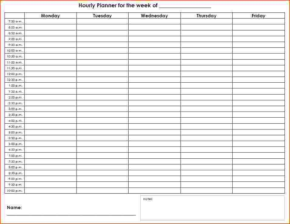 Printable Hourly Schedule | Template Business Hour Calendar Template Printable