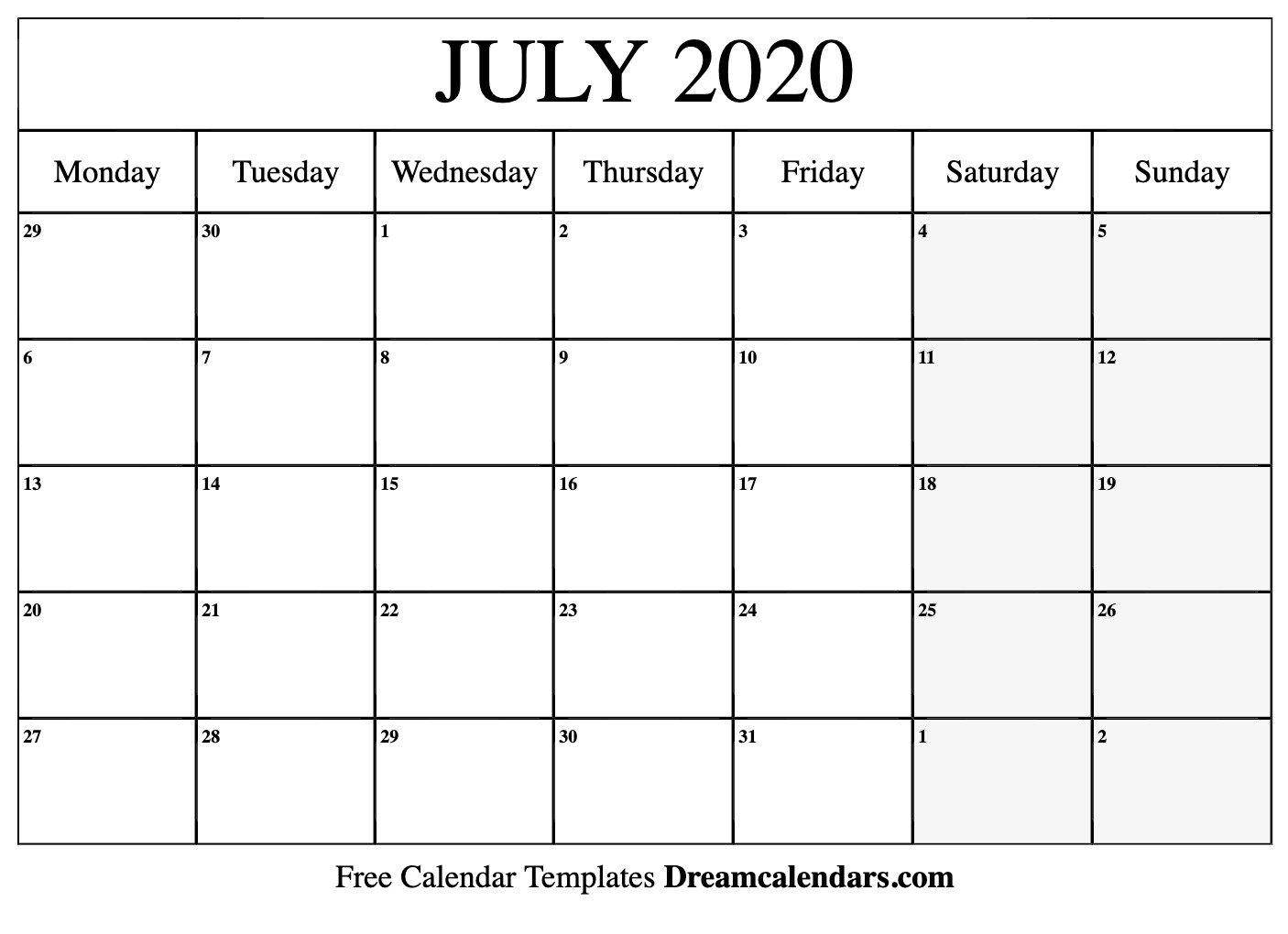 Printable July 2020 Calendar June Calendar Monday Thru Sunday