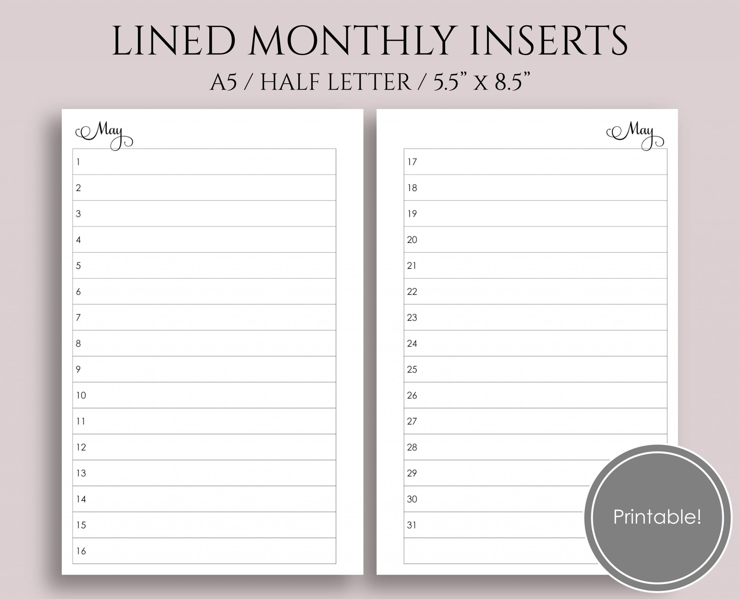 Printable Lined Monthly Calendar | Calendar For Planning Free Printable Lined Monthly Calendars