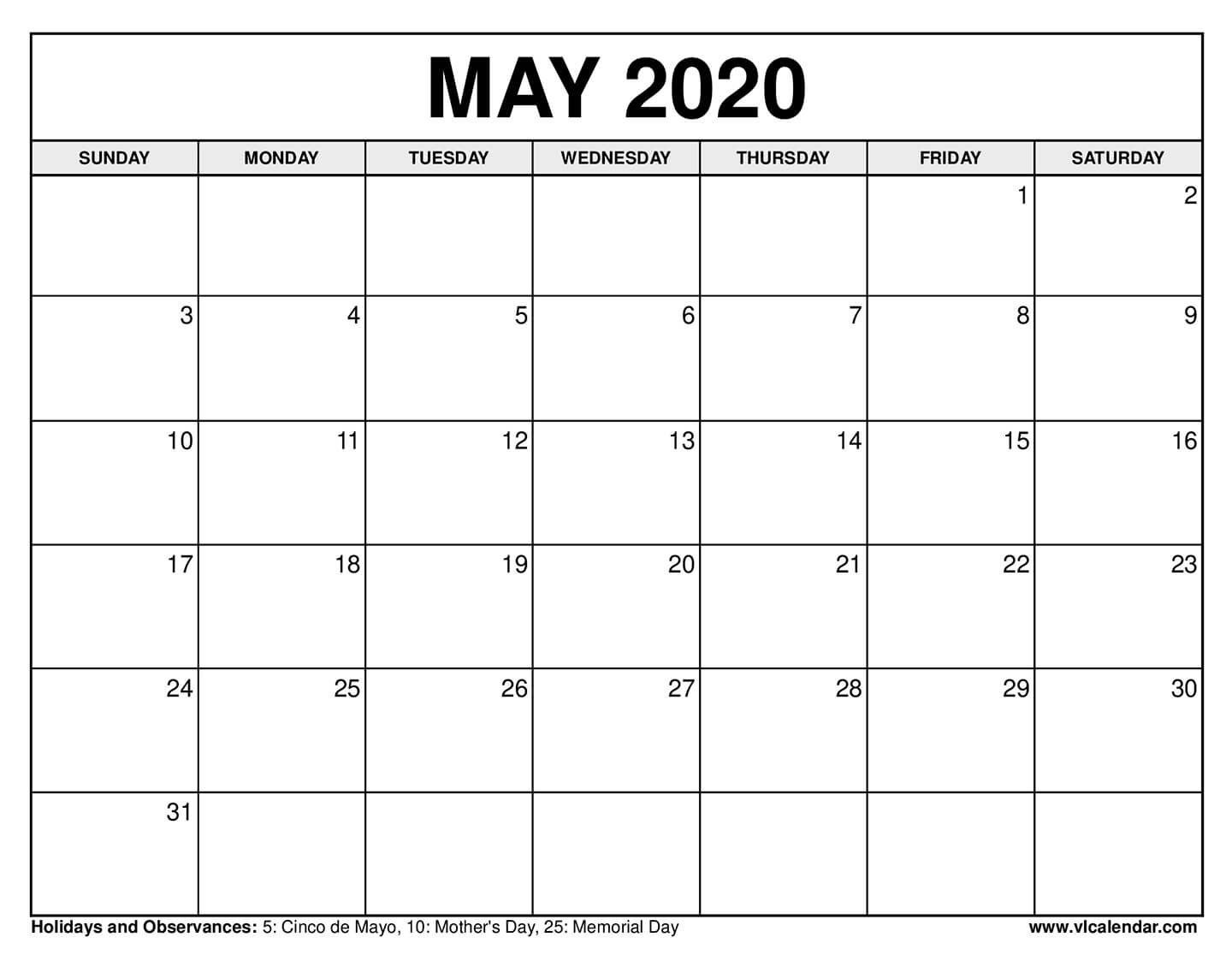 Printable May 2020 Calendars Printable Calendar For The Week Of March 2 Thru March 6