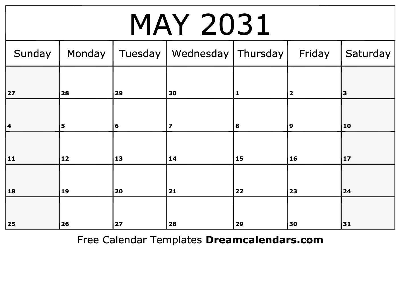 Printable May 2031 Calendar Blank 31 Day Calendar Form