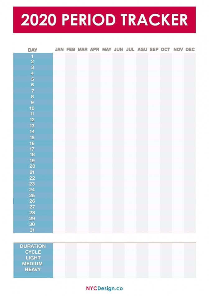 Printable Menstrual Cycle Calendar Free | Free Letter Period Log Calendar Printable Free