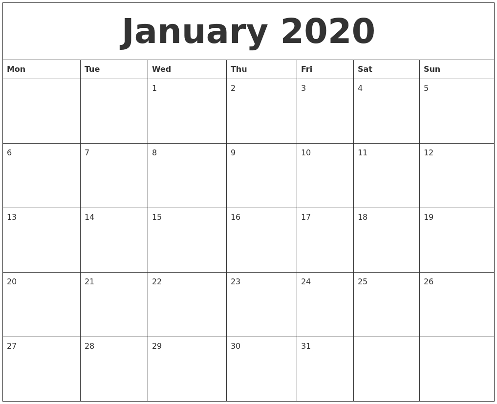 Printable Monday-Friday Calendar 2020 Monthly | Calendar Mon - Friday Monthly Calendar Template