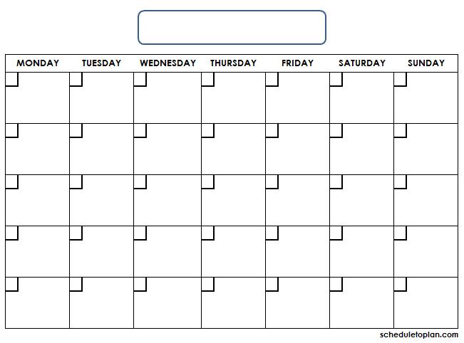 Printable Monthly Blank Calendar Template | Calendar Empty Monday Through Sunday Schedule