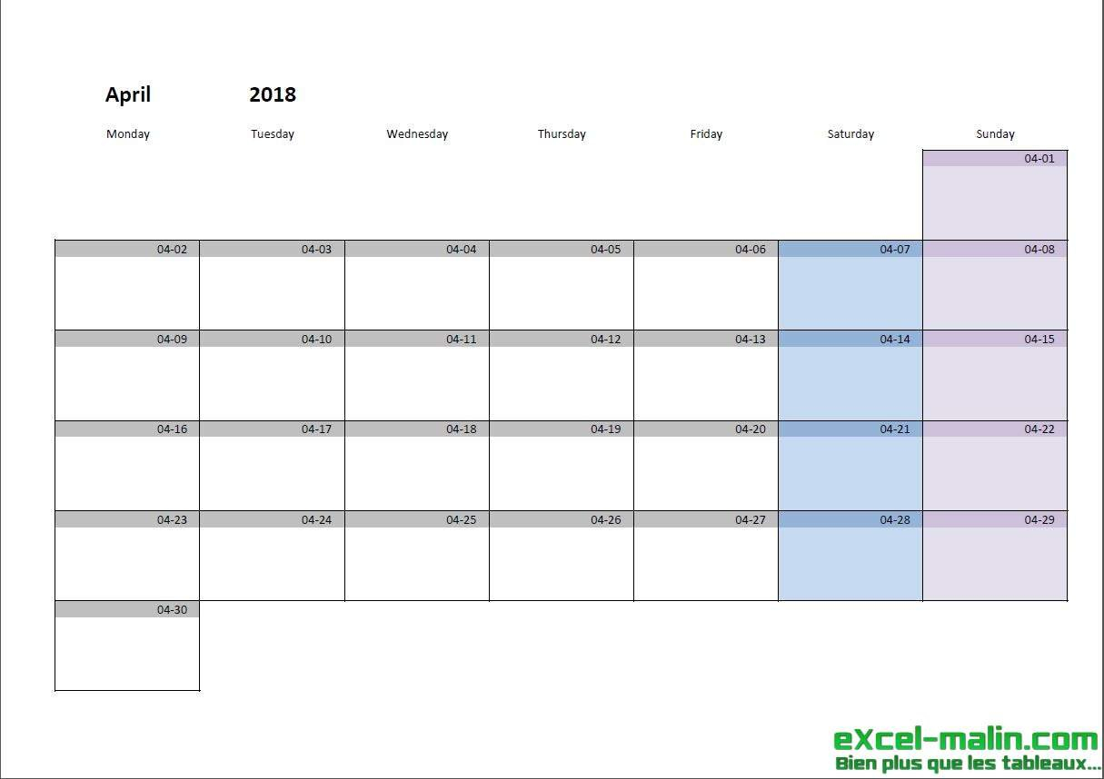Printable Monthly Calendar Template For Excel | Excel Hp Month Calendar Printable