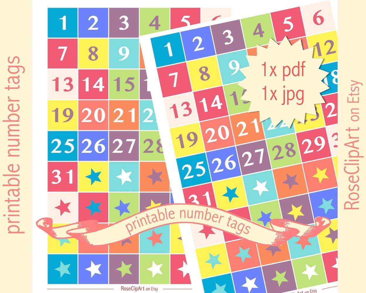 Printable Numbers 1-31 Instant Download Advent Calendar Numbers 1 31 Printable
