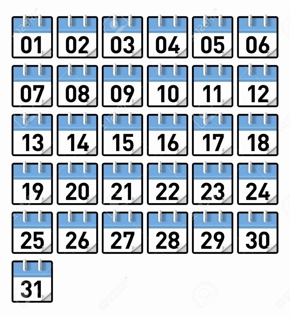 Printable Preschool Numbers 1 31   Free Calendar Template Numbers 1 31 Printable