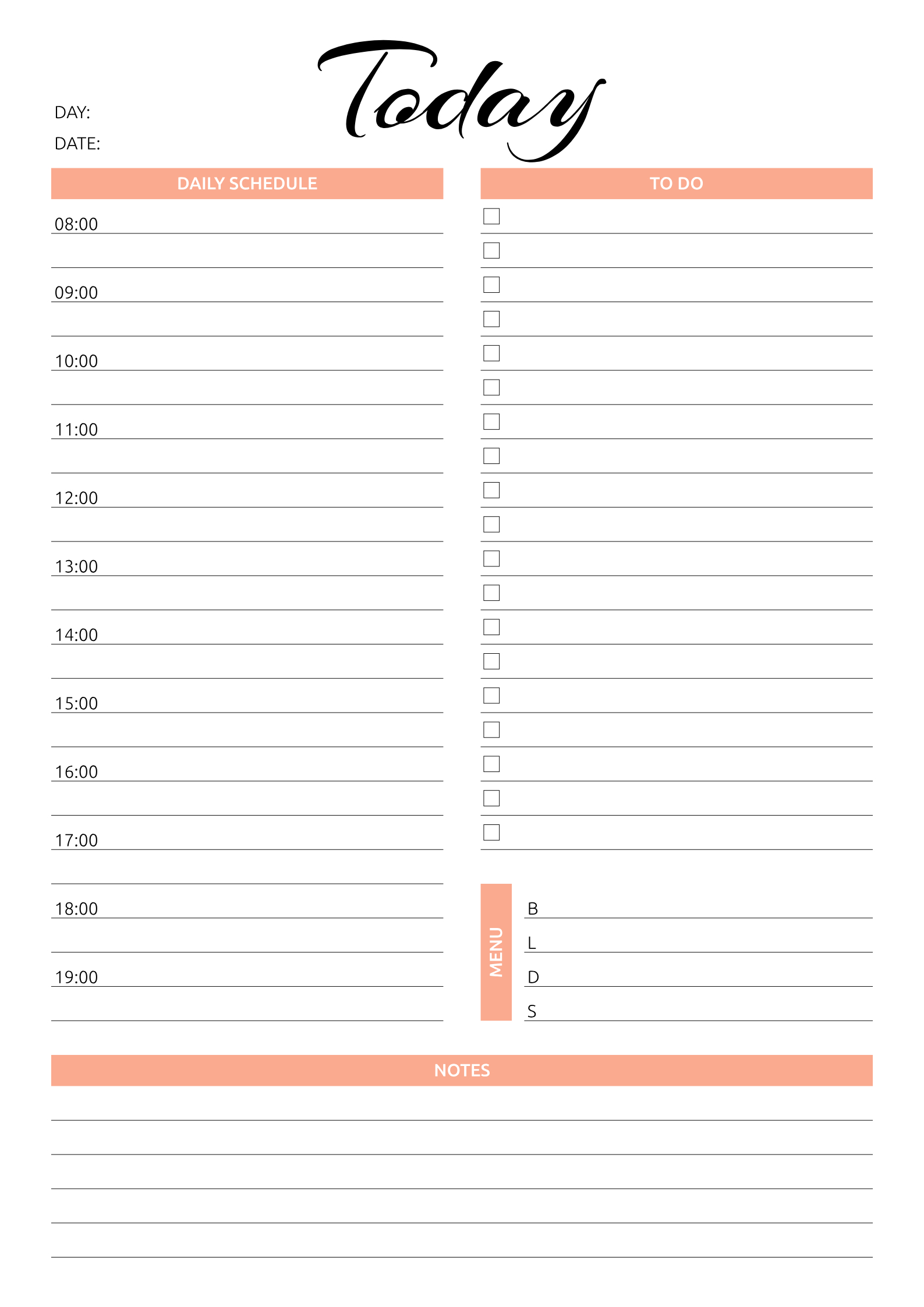 Printable Today Hourly Planner Pdf Download | Daily Printable Day Calendar Hour