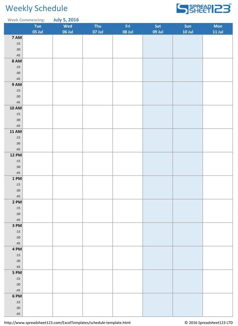 Printable Weekly And Biweekly Schedule Templates For Excel Blank School Calendar With Times Free