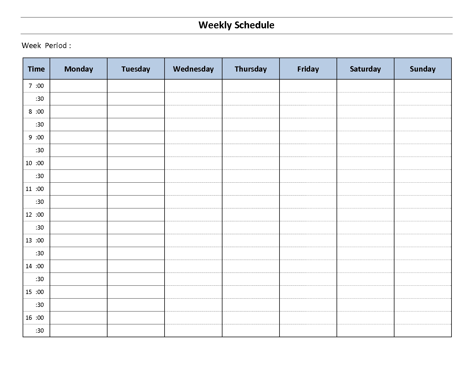 Printable Weekly Calendar Monday To Sunday – Template Printable Template For A Schedule Monday To Friday