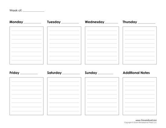 Printable Weekly Calendar Template - Free Blank Pdf Free Week Calendar Editable