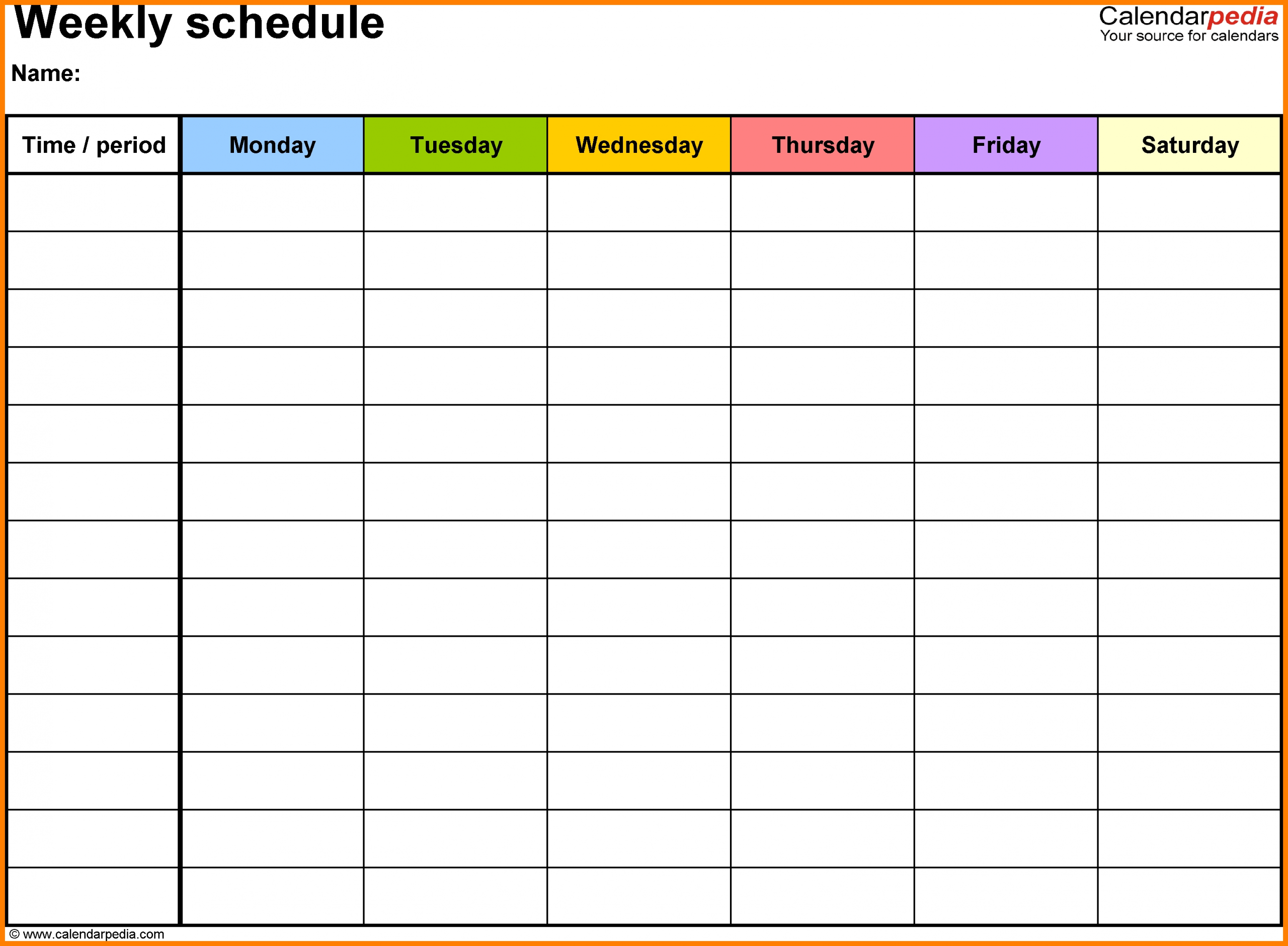 Printable Weekly Calendar With Time Slots - Calendar Weekly Calendar Template With Time Slots