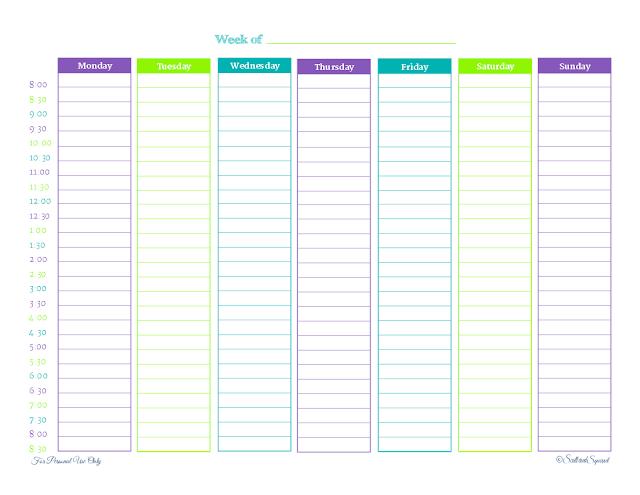 Printable Weekly Planner - Scattered Squirrel 1 Week Schedule Printable