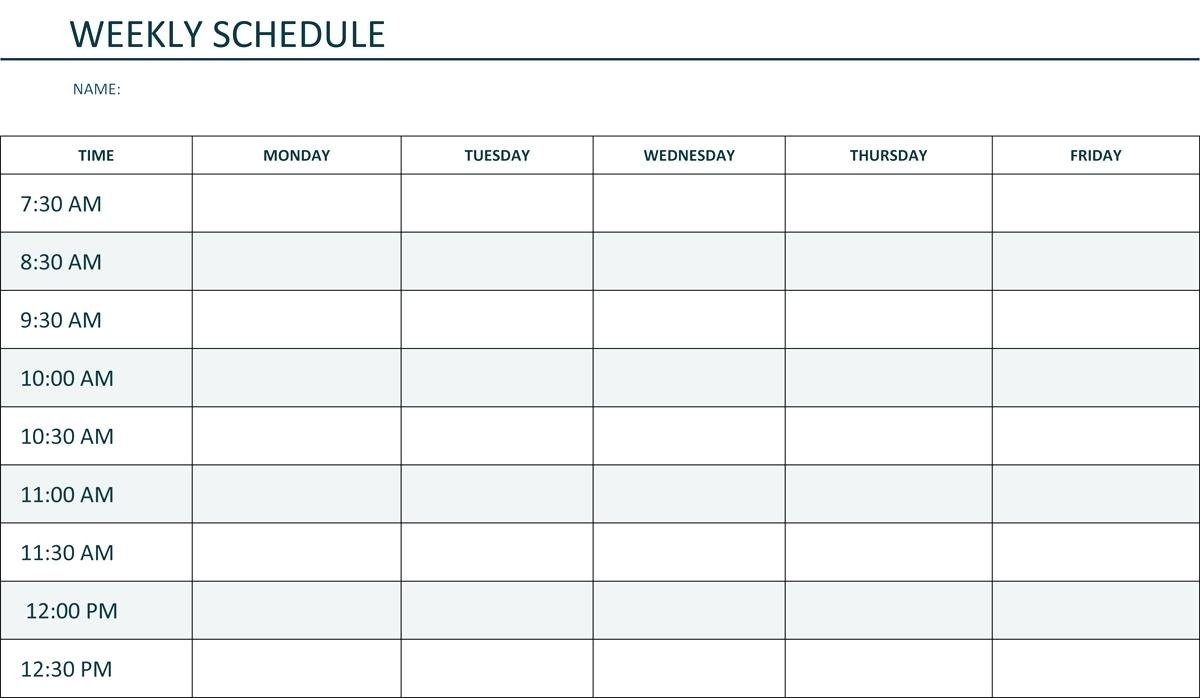 Printable Weekly Schedule Monday Through Friday - Calendar Monday Thru Friday Printable Calendar