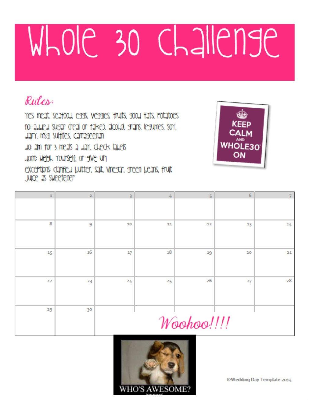 Printable Whole 30 Challenge Calendarweddingdaytemplate 30 Day Challenge Printable Calendar