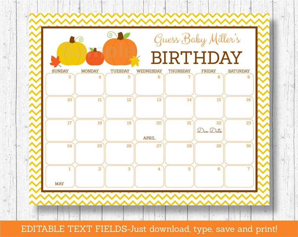 Pumpkin Chevron Gender Neutral Printable Baby Due Date Free Printable Due Date Calendar