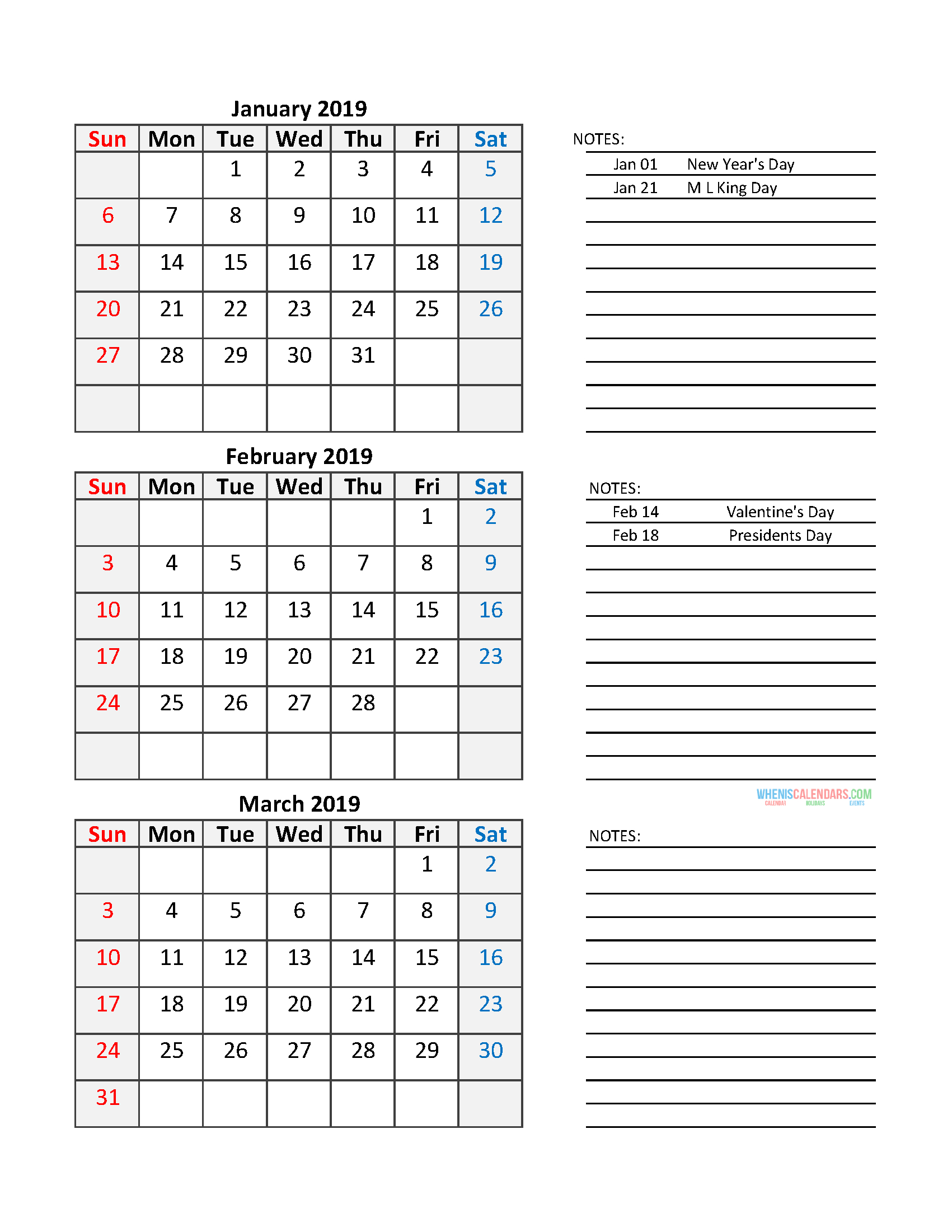 Quarterly Calendar 2019 Printable Calendar Template – Free Printable Calendar For The Week Of March 2 Thru March 6