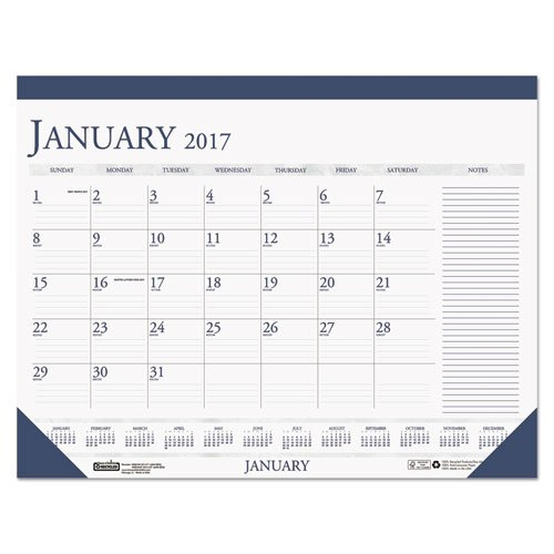 Recycled Two-Color Monthly Desk Pad Calendar W/Large Notes Calendar Template With Notes Section