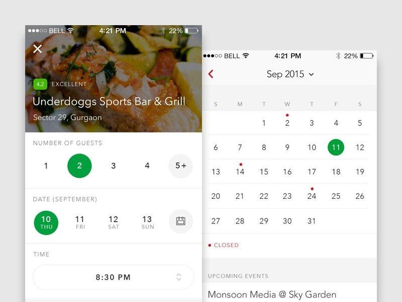 Restaurant Table Bookingmanuj G On Dribbble Free Reservation Calendar For Website