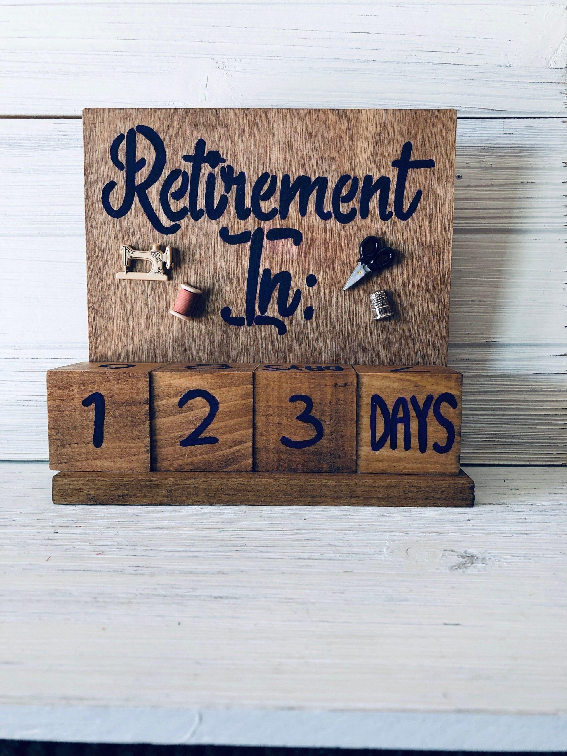 Retirement Countdown Calendar With Blocks - Sewing Theme Retirement Age Calendar Countdown