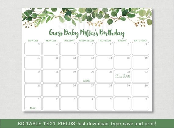 Rustic Floral Baby Due Date Calendar / Green Floral Baby Baby Due Date Calendar