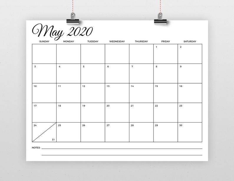 Sale 8.5 X 11 Inch 2020 Calendar Template Instant Download 5 X 8 Calendar Template
