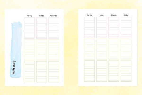 School Planner And 2020-21 Academic Calendar Printable 2 Week Calender Block Printable Sunday To Sunday