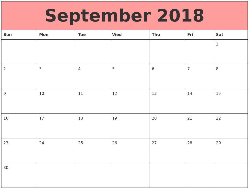 September 2018 Calendar Word – Printable Week Calendar Printable Calendar For The Week Of March 2 Thru March 6