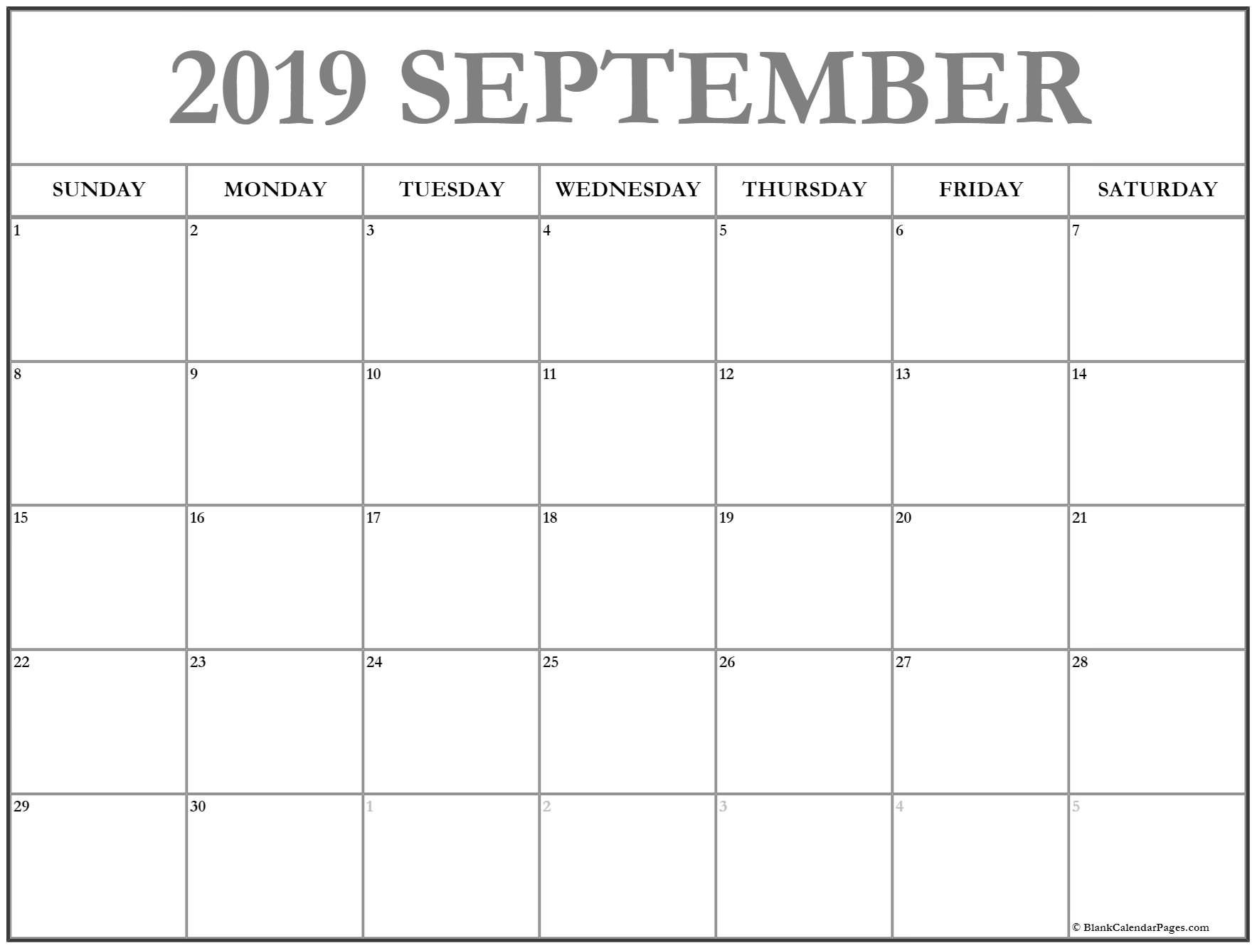 September 2019 Calendar | Free Printable Monthly Calendars Mon-Fri Monthly Calendar Template