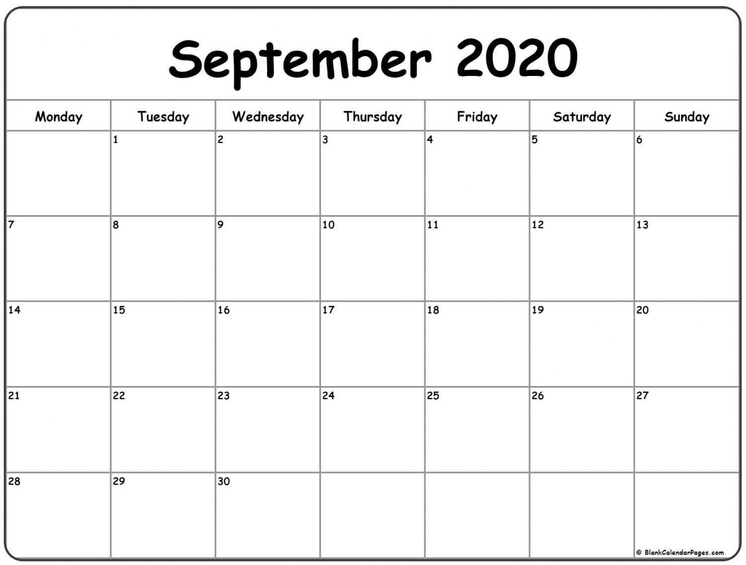 September 2020 Calendar | October Calendar, Calendar Blank Sunday Through Saturday Calendar
