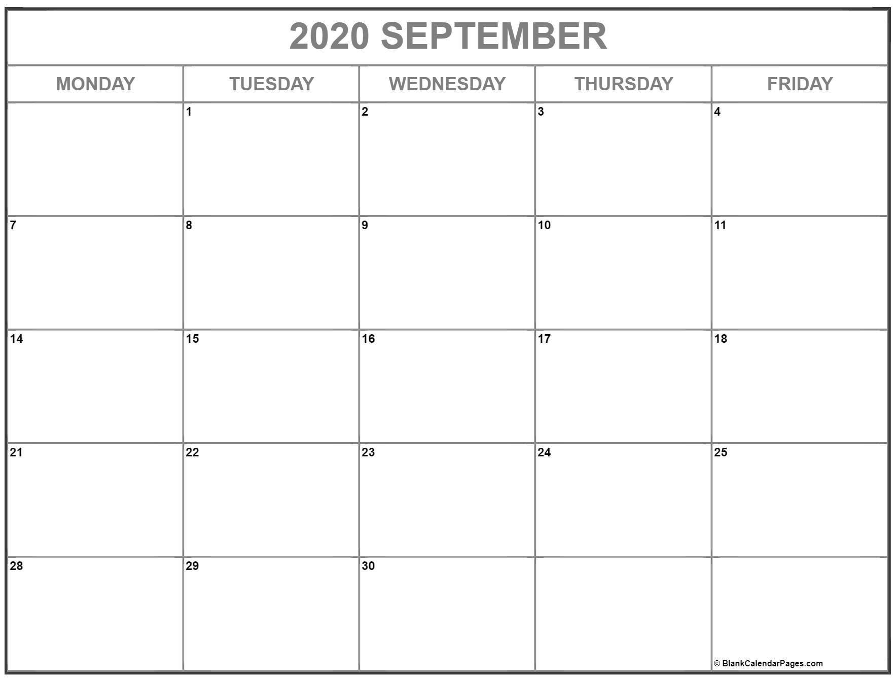 September 2020 Monday Calendar | Monday To Sunday Monday Through Friday Calendar
