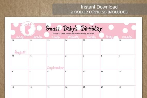 September Due Date Guess Baby'S Birthday Free Printable Baby Guessing Calendar