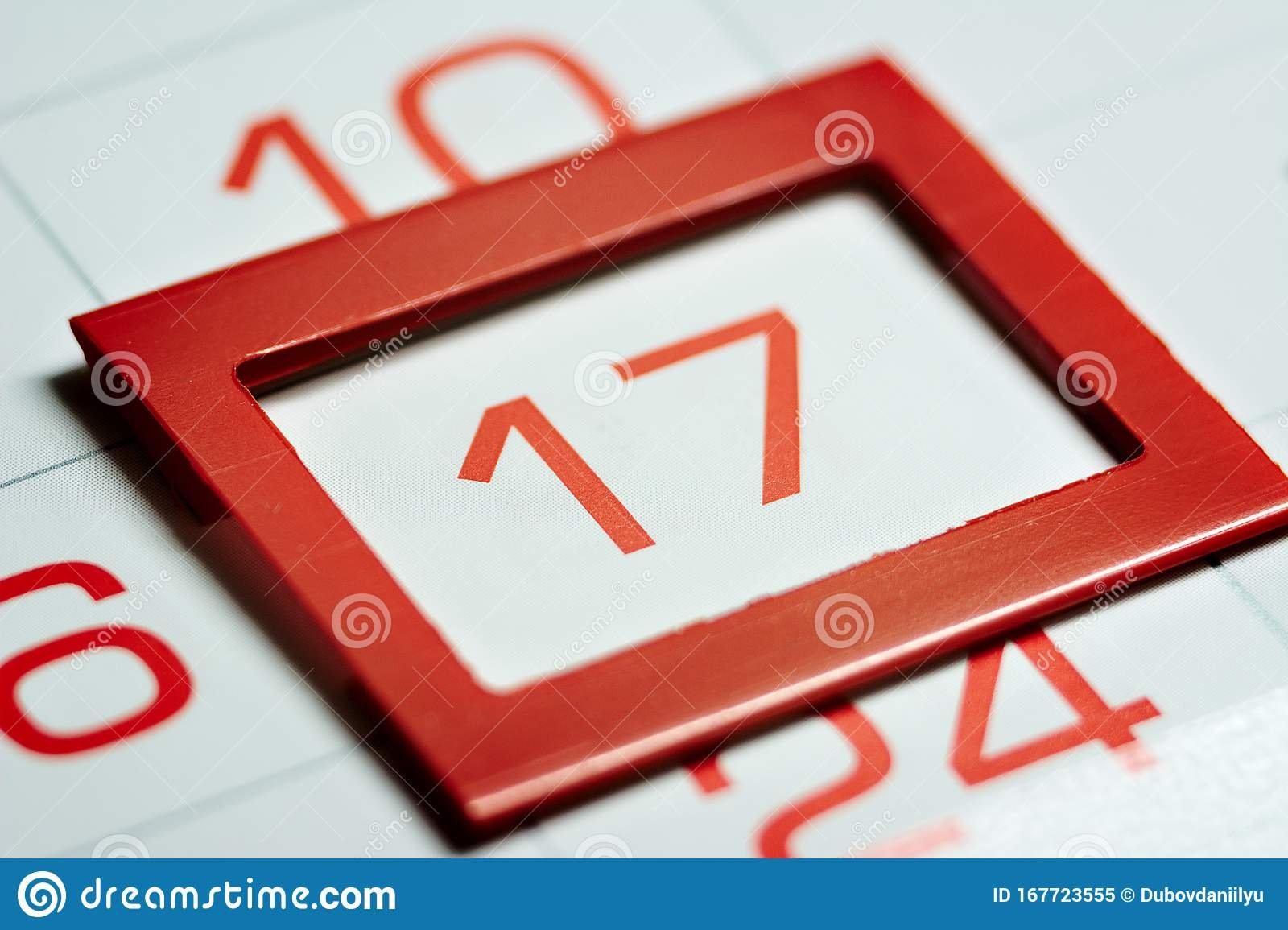 Seventeenth Of The Month Stock Image. Image Of Meetings Image Of A Calendar With 2Nd Of Month Highlighted