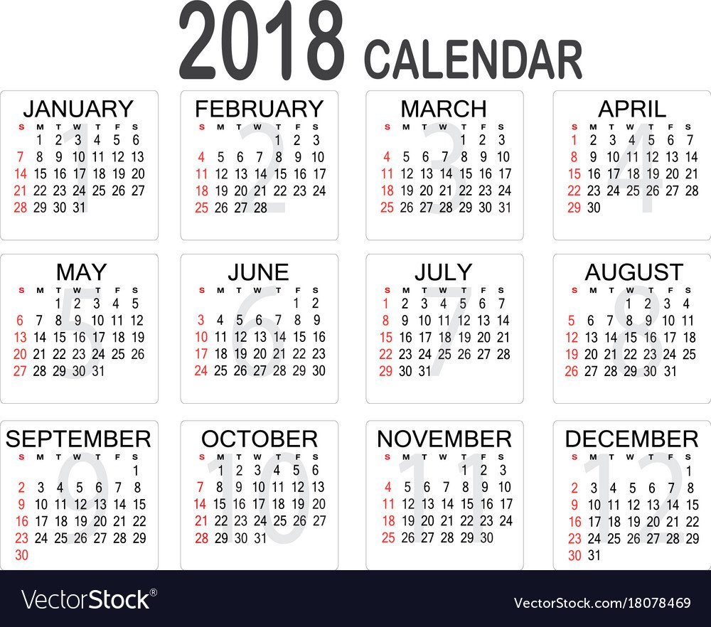 Simple 2018 Year Calendar On White Background Vector Image Five Year Calendar Image