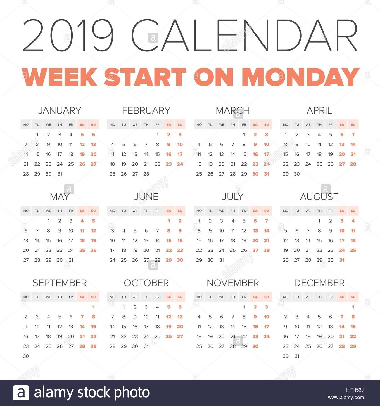 Simple 2019 Year Calendar, Week Starts On Monday Stock How To Make Mini Calendars Of Only Monday To Friday