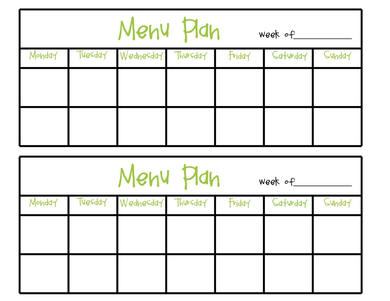 Simply Complicated: Menu Planning Two Week Food Calendar