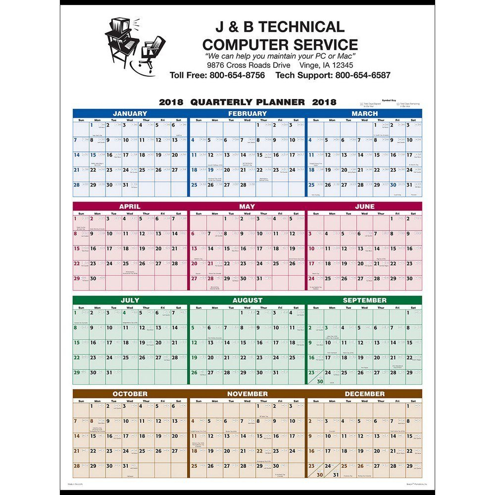 Single Sheet Wall Calendar - 4-Color Quarterly Full Year How To Make A Color Coded Calendar Parenting Time