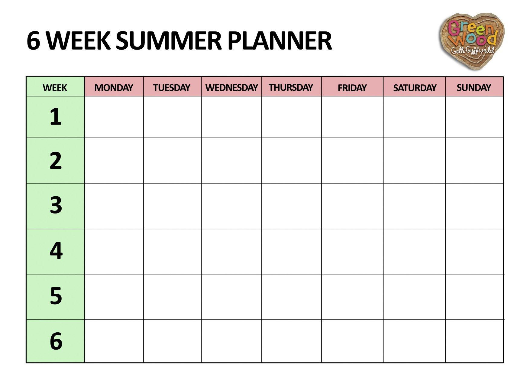Six Week Summer Planner - Five Little Doves Blank 5 Week Calandar
