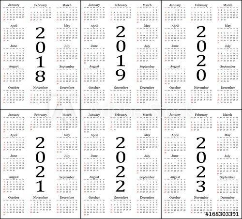 """Six Year Calendar - 2018, 2019, 2020, 2021, 2022 And 2023 Five Year Calendar Image"