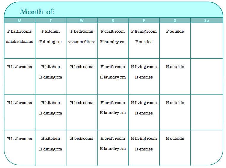 Sk Studios Homemaking: 31 Days :: Day 6, 7, 8, 9- Monthly 31 Day Monthly Schedule